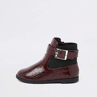 River Island Mini girls burgundy croc panel patent boots
