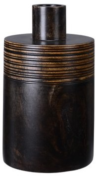 """DTX Intl Villacera Handmade 10"""" Mango Wood Black Decorative Jar with Lid 