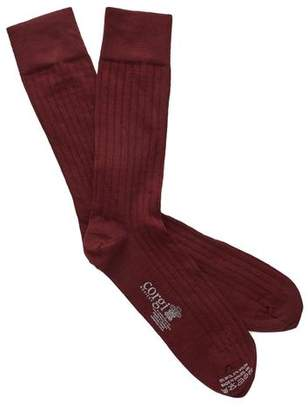 Corgi Solid Burgundy Dress Socks