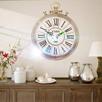 "Generic 19.69x15.75x0.79"" Retro Large Antique Vintage Pocket Watch Style Chic Roman Numerals Wall Clock"
