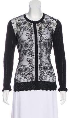 Oscar de la Renta Virgin Wool Button-Up Cardigan