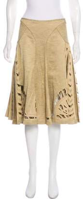Zac Posen Linen-Blend Laser Cut Flared Skirt