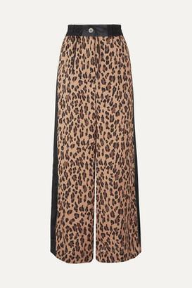 Sacai Leopard-print Satin And Chiffon Wide-leg Pants - Beige