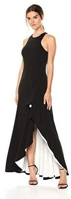 Halston Women's Sleeveless Round Neck Asymmetrical Gown
