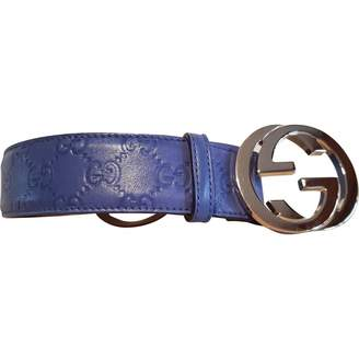 Gucci Interlocking Buckle Turquoise Leather Belts
