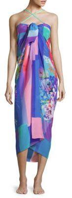 Printed Sweetheart Neckline Silk Dress $198 thestylecure.com