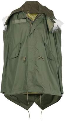 Junya Watanabe faux-fur trim hooded oversized parka