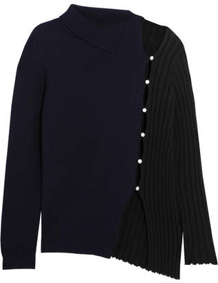 Jacquemus - Asymmetric Ribbed Wool Sweater - Navy $570 thestylecure.com