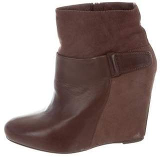 Vince Leather Wedge Ankle Boots