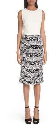 Oscar de la Renta Two-Tone Tweed Sheath Dress