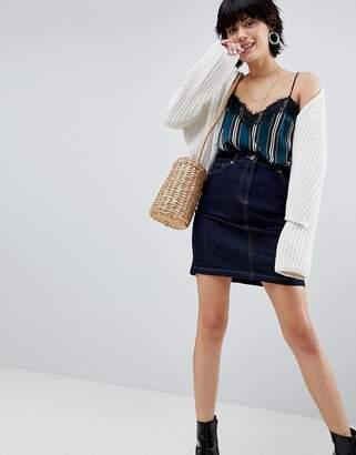 Warehouse 5 Pocket Raw Denim Mini Skirt