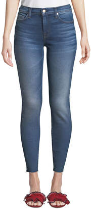 7 For All Mankind High-Rise Ankle Skinny with Raw Hem