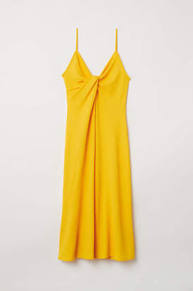H&M Tie-detail Dress - Bright yellow - Women