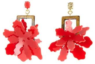 Oscar de la Renta Lily Flower Drop Earrings