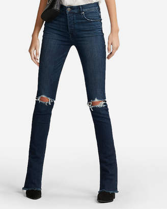 Express High Waisted Frayed Stretch Skyscraper Jeans