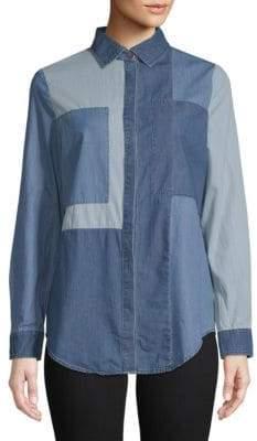 Colorblock Denim Button-Down Shirt