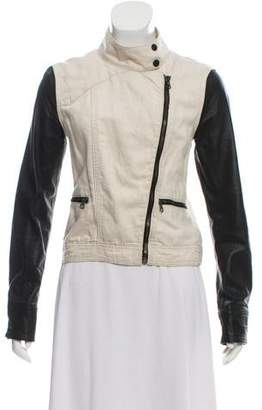Rag & Bone Leather-Trimmed Denim Jacket