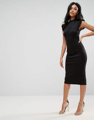 Asos DESIGN Midi High Neck Pencil Dress With Cut Out Back And Shoulder Detail
