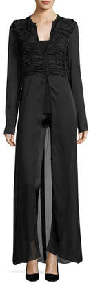 The Row Sabrina Shirred-Front Silk Charmeuse Maxi Dress, Black