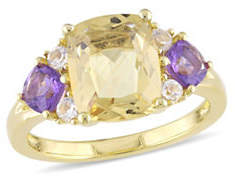 CONCERTO Citrine, Amethyst, White Topaz and Sterling Silver Three-Stone Ring