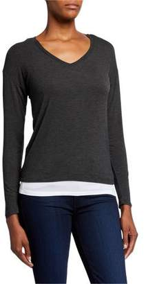 Neiman Marcus Majestic Paris for Double-Layer V-Neck Long-Sleeve Tee