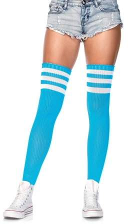 Women's Athlete Thigh Hi with 3 Stripe Top, Neon Blue, O/S