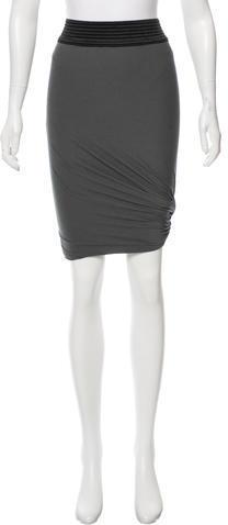 Alexander WangT by Alexander Wang Striped Knee-Length Skirt