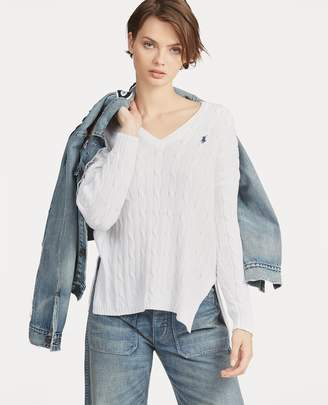 Ralph Lauren Cable-Knit Side-Slit Sweater