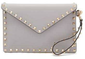 Valentino Rockstud Leather Envelope Pouch - Womens - Light Grey