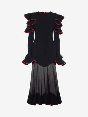 Alexander McQueen Knitted Ruffle Midi Dress