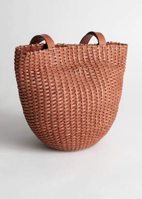 And other stories Woven Leather Bucket Bag