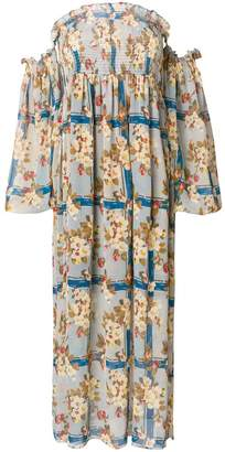 Semi-Couture Semicouture shirred off the shoulder floral maxi dress