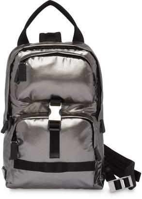 Prada technical fabric metallic backpack