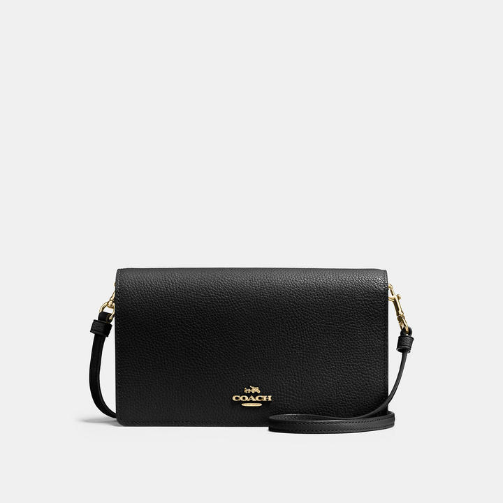 COACH Coach Foldover Crossbody Clutch In Polished Pebble Leather