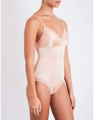 Elle Macpherson Body Ladies Apricot Semi Sheer Unique Slink Stretch-Satin And Lace
