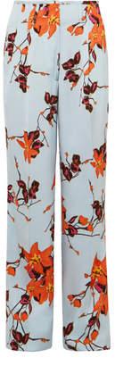 Etro Floral-print Satin Wide-leg Pants - Orange