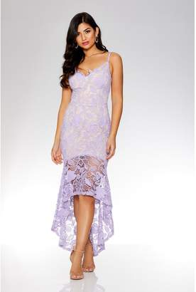 At Quiz Clothing Lilac And Crochet V Neck Strap Dress