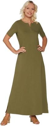 Denim & Co. Essentials Petite Split V-Neck Knit Maxi Dress