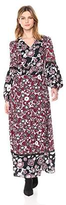 Ella Moon Women's Giulia Mixed Print Insert Trim Poet Sleeve Maxi Dress