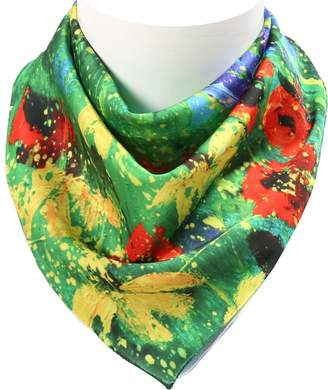 Colorpole Women's ( Floral Design) Square Scarf 100% Polyester Silk Feeling 19x19 Inch