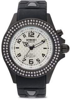 KYBOE Silicone, Pave Crystal Stainless Steel Strap Watch