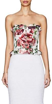 Dolce & Gabbana Women's Rose-Print Stretch-Silk Bustier