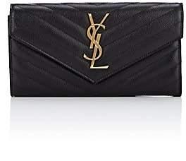 Saint Laurent Women's Monogram Large Leather Envelope Wallet - Black