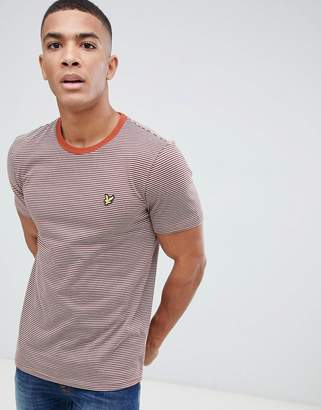 Lyle & Scott stripe logo t-shirt in rust