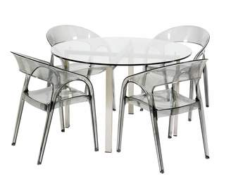 clear R & V Living Reflective Dining Table Round Glass