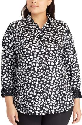 Chaps Plus Size No Iron Printed Sateen Shirt