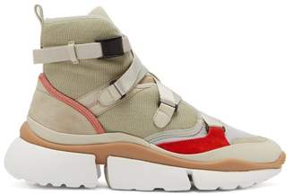 Chloé Sonnie Raised Sole High Top Trainers - Womens - Grey Multi