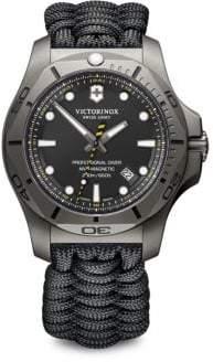 Victorinox I.N.O.X. Professional Diver Sandblasted Titanium Black Camo Paracord Strap Watch