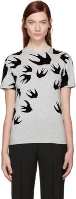 McQ Alexander Mcqueen Grey Swallows T-Shirt $235 thestylecure.com