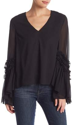 Do & Be Do + Be V-Neck Ruffled Bell Sleeve Blouse
